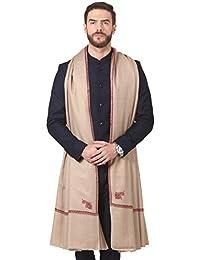 Pashtush Mens Embroidery Shawl, Gents Pashmina Shawls, 100% Handmade Embroidery, Full Size 54 x 108 inches (Dark Pashmina Colour)