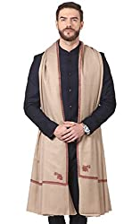 Pashtush Mens Embroidery Shawl, Gents Pashmina Shawls, 100% Handmade Embroidery, Full Size 54 x 108 inches (Taupe)