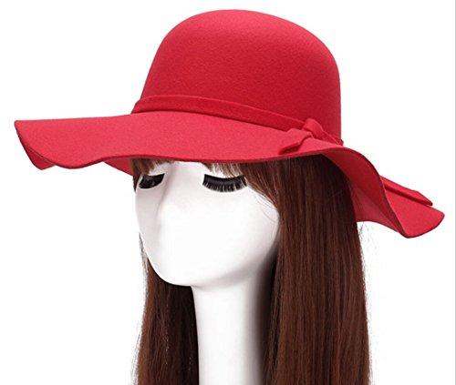 Magik Vintage Mujer Mujer Ala Ancha Floppy cálida mezcla de lana sombrero  de fieltro Trilby Bowler f9076c4c53e