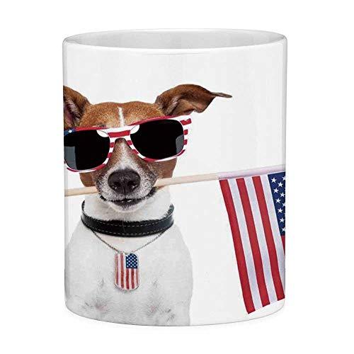 Rongpona Bleifreie Keramikkaffeetasse Teetasse Weiß Hundeliebhaber Dekor 11 Unzen Lustige Kaffeetasse Amerikanischer Hund mit USA-Flagge und Sonnenbrille Jubiläum Unabhängigkeit Freiheit Dekorativ