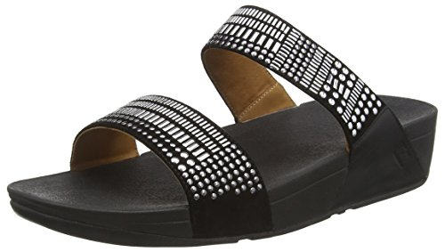 FitFlop Damen Aztek Chada Slide Offene Sandalen mit Keilabsatz Schwarz (Black)