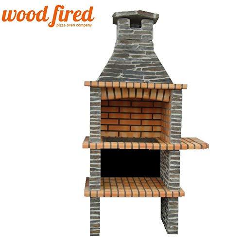Woodfired Outdoor Brick/Stone Masonry Mediterranean Bbq With, Shelf