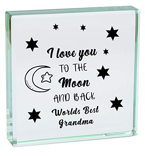 WORLDS BEST GRANDMA I LOVE YOU TO THE MOON AND BACK Glass Ornament Gifts Presents For My Birthday Christmas Mothers Day Novelty Gift Keepsake Present Idea From Grandson Granddaughter