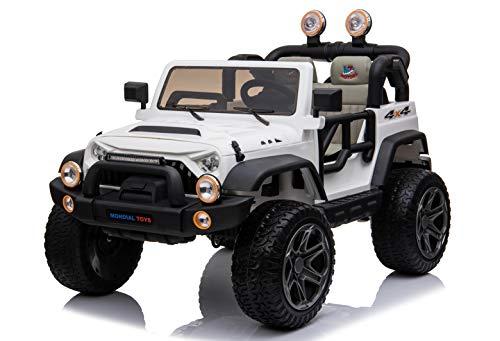 Mondial Toys Auto ELETTRICA 12V per Bambini 2 POSTI Maxi Fuoristrada con Telecomando 2.4G Soft Start AMMORTIZZATORI Ruote in Gomma Full Optional Bianco MT-018