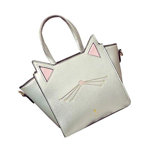 Zarupeng Frauen Reizender Katze Ohr Schulter Beutel Großer Kapazitäts Handtaschen Kurier Beutel Silber