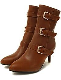 Invierno Las Botas del Tobillo para Mujeres Delgadas de tacón Alto de la Hebilla de Correas