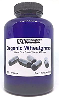 260 Organic wheatgrass Capsules, EU Grown, Superfood in a BOTTLE, By DSC Nutrition by DSC NUTRITION