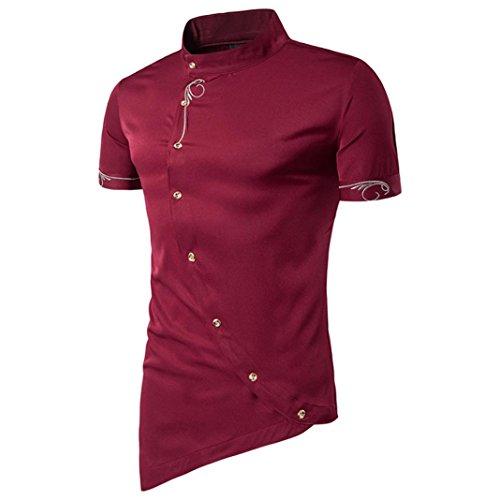 Odejoy uomini casuale pulsante camicia collare mandarino camicie da smoking da uomo shirt da uomo irregolare maglietta a maniche corte uomo camicetta slim fit t-shirt estate (l, win red)