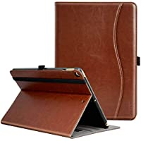 Ztotop iPad 9.7 Inch 2018/2017 Case, Premium Leather Business Stand Folio Cover Tablet Auto Wake/Sleep Document Card Slots, Multiple Viewing Angles,Brown