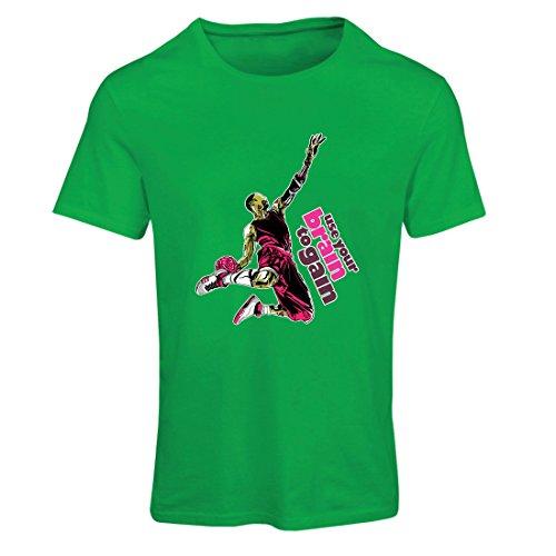 Frauen T-Shirt Nutze dein Gehirn, um zu gewinnen! Coole Basketball-Spieler-themenorientierte Geschenke (Medium Grün Mehrfarben) (Humor T-shirt Medizinische)