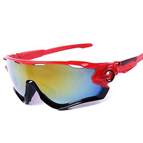 Xiton occhiali da sole sportivi protezione uv400–occhiali con 5lenti intercambiabili per ciclismo, baseball, pesca, sci, corsa, golf, red, standard