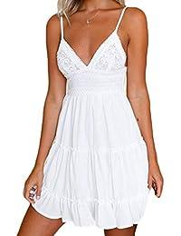 Donna Casual Vestito da Swing Sexy Cavo Apri Indietro Abito da Spiaggia  Profondo Scollo V Senza 03bbd709e05