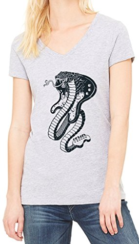 Snake Guitar Cobra Women's V-Neck T-shirt Gris