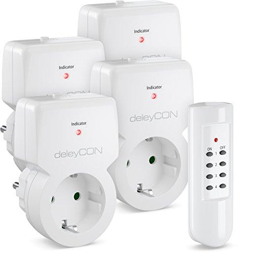 deleyCON Funksteckdosen Set 4x Funksteckdose + 1x Fernbedienung 4 Funkkanäle Funkschalter Set Innenbereich bis 30m 1100 Watt Kindersicherung - Weiß