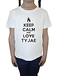 Keep Calm And Love Tyjea Blanco Algodón Niña Niños Camiseta Manga Corta Cuello Redondo Mangas White Girls Kids T-shirt