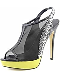 GLTER Mujeres Slingback Sandalias Peep Toe Pump Mujer Plataforma Zapatos Net zapatos de tacón alto ( Size : 37 )