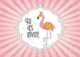 Edition Colibri 10 Invitations en Français Flamant Rose: Lot de 10 Cartes d'invitation pour Un Anniversaire de Filles des (11006 FR)
