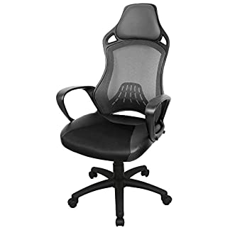 IWMH High-Back Office Chair with Head Support Height Adjustable, Racing Sport PU Leather & Fabric Swivel Mesh Ergonomic Computer Desk Chair, Back height 73 cm/ 28.7 inch,
