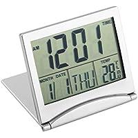 Reloj Despertador Digital LCD, diseño Moderno Escritorio portátil Plegable Reloj Digital LCD Termómetro Calendario Reloj Despertador Datos de la Cubierta Flexible Reloj del Escritorio del Tiempo