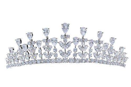 Venus Jewelry Tiara o corona de boda de cristal de princesa de Zirconia para mujer Claro
