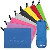Proworks Mikrofaser Handtuch - Ultra Leicht & Weich - Microfaser Badetuch und Strandtuch für Sport, Strand, Reisen, Gym und Sauna - Handtücher in 5 inkl. Tasche - XXXL - Blau