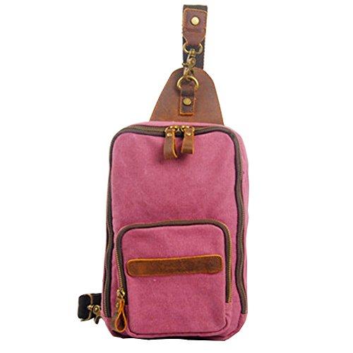 GSPStyle Unisex Canvas Leder Brusttasche Herrentasche Damentasche Reißverschluss Schultertasche Sporttasche Dunkelrosa