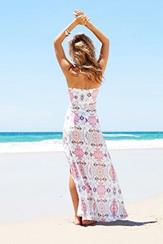 YAANCUN Donne Vintage Estivi Senza Maniche Fasciante Le Doppie Punte Casual Partito Festa Banchetto Vestito Dalla Spiaggia Come l'immagine 2