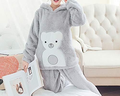 JZX Winter Coral Velvet Female Long Sleeve Cute Cartoon Hooded Padded Plush Home Service Suit,Gris,L