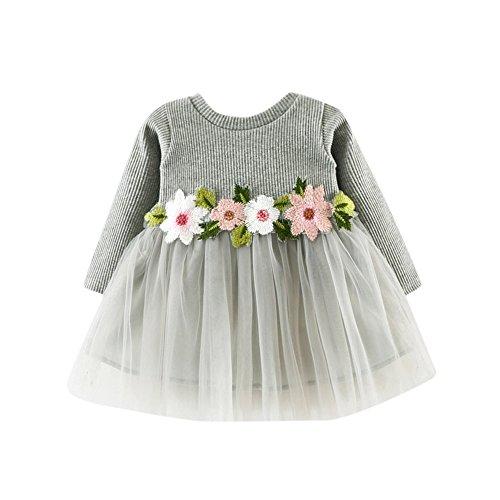 Preisvergleich Produktbild JYJM Nettes Kleinkind Baby Blumen Ballettröckchen langes Hülsen Prinzessin Kleid (Größe: 12-18 Monate, Grau)