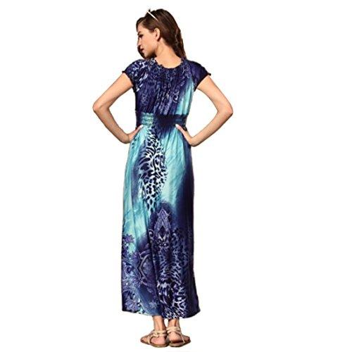 QIYUN.Z En Plus Grande Taille Manches Courtes Col V Imprime Leopard Boheme Empire Robe Taille Maxi Denim Blue