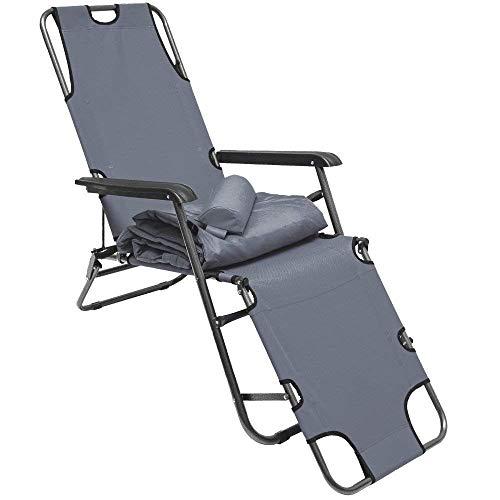 Amanka sedia a sdraio pieghevole | prendisole con comoda imbottitura removibile 178 cm + poggiatesta + poggiagambe + schienale reclinabile | grigio