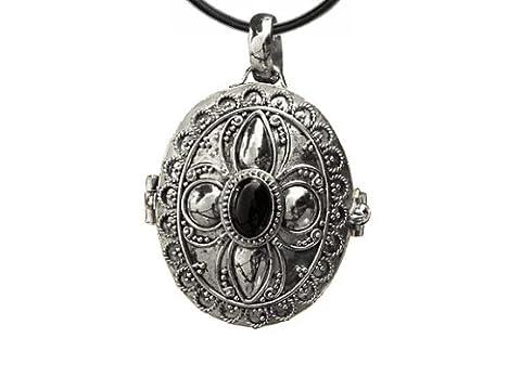 Anhänger Medaillon zum Öffnen Silber mit Onyx