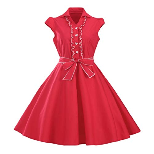 Soupliebe Frauen Kurzarm O Neck Abend Party Prom Swing Dress Abendkleider Cocktailkleid Partykleider ()