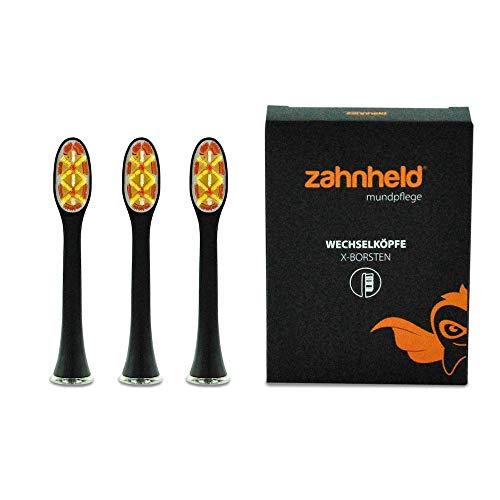 ZAHNHELD® COMMEO (X-Borsten), 3 Stück Whitening Wechselköpfe (Bürstenköpfe) Für Elektrische Zahnbürste (Schallzahnbürste) GERO   Ersatzbürsten - Aufsteckköpfe, Schwarz -