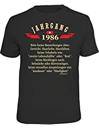 Original RAHMENLOS® Geschenk-T-Shirt zum 30. Geburtstag: Jahrgang 1986 - keine Bemerkungen über: Gewicht, Haarfarbe, Hautfalten, …