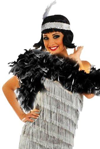erdbeerloft - erdbeerloft - Damen 20er Jahre Charleston Fransen Pailetten Kostüm Set Kostüm Set- silber, 36
