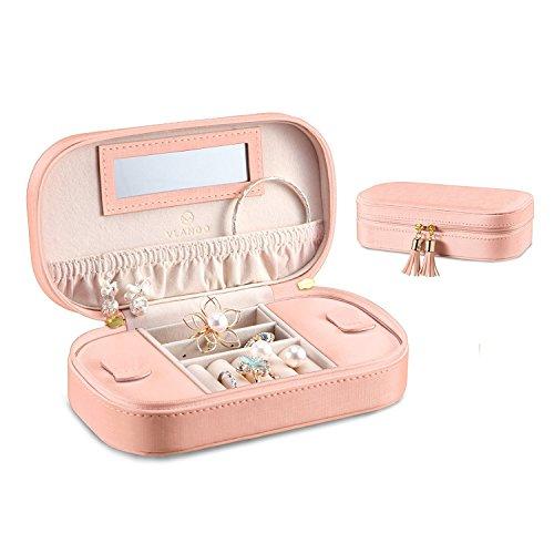 Vlando Kleine Faux Leder Reise Schmuck Box Organizer Display Aufbewahrungsbox Fall für Ringe Ohrringe Halskette mit Spiegel (Rosa) -