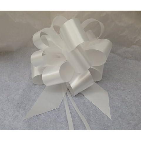 Confezione da 100 coccarde autotiranti bianche gran fiocco autotirante da antenna specchietto auto, nastro da 5 cm, lunghezza 150 cm per feste, diametro coccarda 16 cm, feste, matrimonio, eventi …