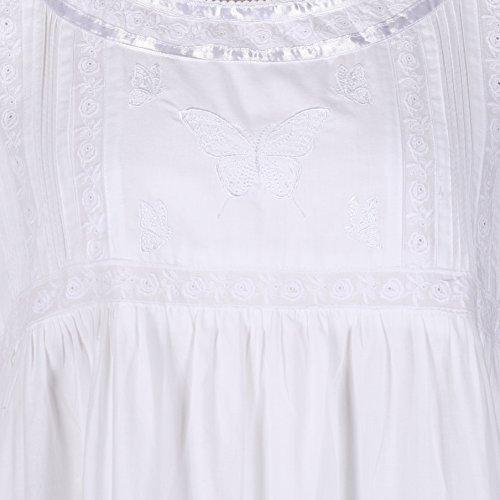 The 1 for U 100% Baumwolle Damen Nachthemd mit Taschen Viktorianisch Stil BN1 weiß kurze Ärmel - Nicole