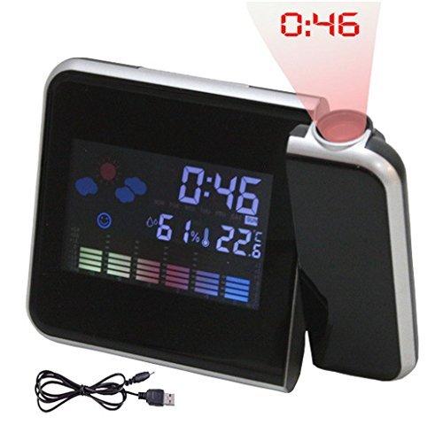 Reloj proyector con temperatura interior y exterior, con ...