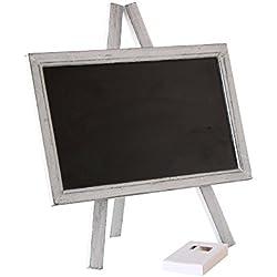 Pizarra con Caballete, Madera, Negro, 24x23x1,5 cm