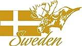GRAZDesign 630241_57_820 Wandtattoo Design Wohnzimmer Schweden Sweden Elch Flagge Länder Welt Karte (101x57cm//820 Mustard)