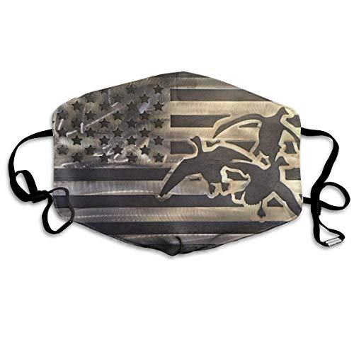 asken, Duck Hunting USA Flag Face Masks Breathable Dust Filter Masks Mouth Cover Masks with Elastic Ear Loop ()