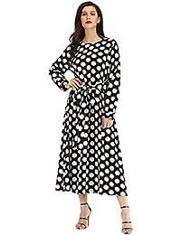 0170566343bb57 Damen Kleid Rockabilly Polka Dots Swing Langarm Kleid Sommerkleider  Maxikleid Boho Strandkleid mit Blumen