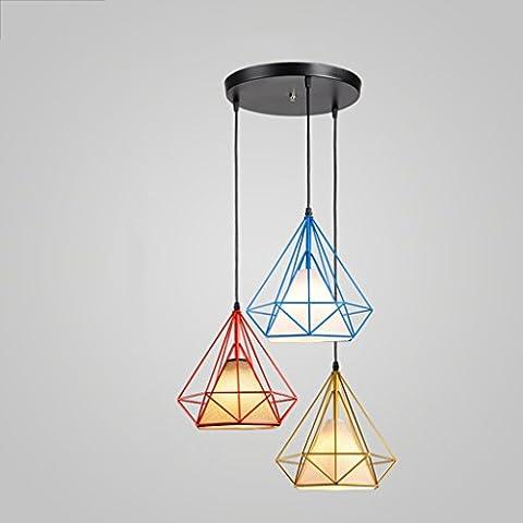 Luminaires suspendus Lustre Diamond Head Iron Retro Modern Multicolor ( Couleur : C-#1 )