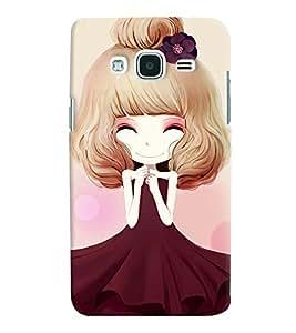 Printvisa Sweet Girlin Brown Back Case Cover for Samsung Galaxy J2 (2016)