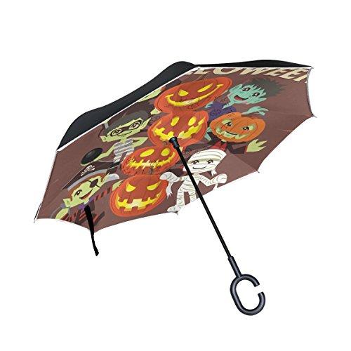 coosun Halloween Charakter und Kürbis Gesichter Double Layer seitenverkehrt Regenschirm Rückseite Regenschirm für Auto und Außeneinsatz Regen winddicht wasserdicht UV-Schutz Big gerade Regenschirm mit C-förmigem - Designs Halloween-kürbisse Für Gesicht