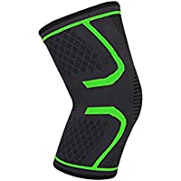 Healifty Knee Protector Sleeve Anti Slip Knee Support Brace for Outdoor Running Hiking Sports Activities Size M (Green)
