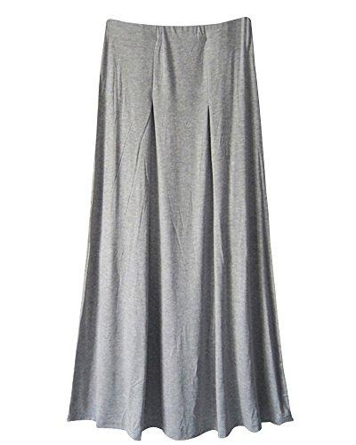 saideng-mujer-dobladillo-grande-plisado-cintura-alta-elastico-colores-solidos-falda-gris