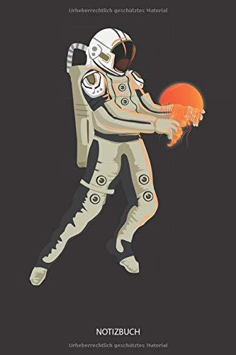 Notizbuch: Astronaut mit türkiser Qualle - Liniertes leeres Quallen Notizbuch. Lustiges Quallen Bild, Urlaub, Strand und Meer Design. Medusen & Quallen Geschenk für Damen, Herren & Kinder.